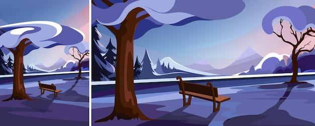 Parco invernale sullo sfondo della foresta e delle montagne. scena all'aperto con orientamento verticale e orizzontale.