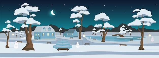 Winter park di notte colore piatto. zona ricreativa della città. piazza del paese. riposo all'aperto. strade innevate e case paesaggio cartone animato 2d con alberi e falce di luna sullo sfondo