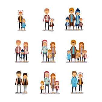 Gente di inverno sfondo colorato