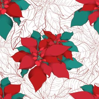 Modello senza cuciture di poinsettia invernale per imballaggi natalizi e carta da imballaggio o tessuti. foglie di seta della stella di natale con linea rossa su sfondo bianco.