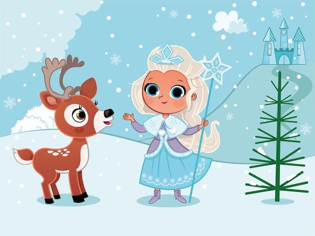 Principessa d'inverno nella neve con un cervo illustrazione vettoriale
