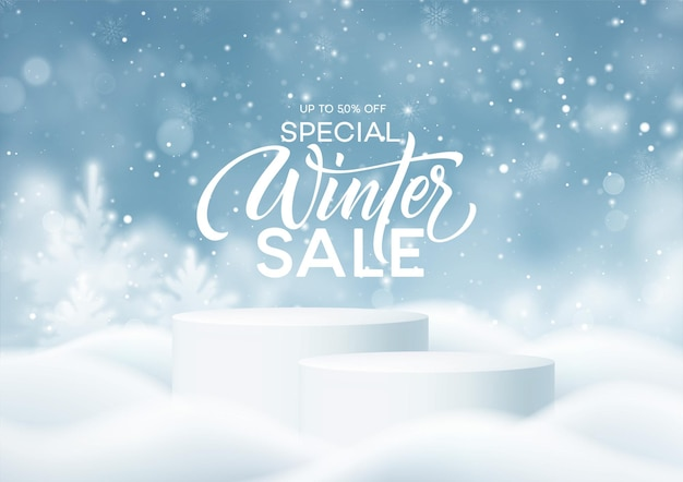 Podio del prodotto invernale sullo sfondo di derive, fiocchi di neve e neve. podio del prodotto realistico per la progettazione di sconti invernali e natalizi, vendita. illustrazione vettoriale