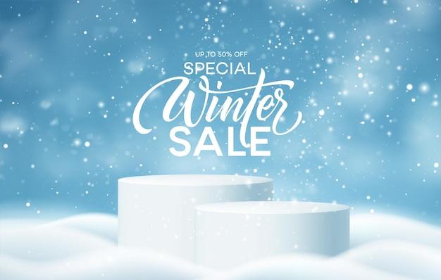 Podio del prodotto invernale sullo sfondo di derive, fiocchi di neve e neve. podio prodotto realistico per la progettazione di sconti invernali e natalizi, vendita. illustrazione vettoriale