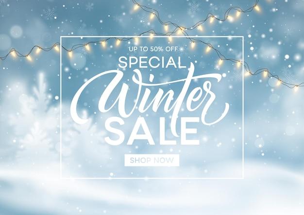 Modello di sfondo vendita invernale. natale inverno paesaggio innevato. sfondo di polvere di neve invernale. illustrazione vettoriale eps10