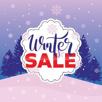 Fondo del fiocco di neve dell'etichetta di flayer dell'etichetta dell'insegna di vendita di inverno Vettore Premium