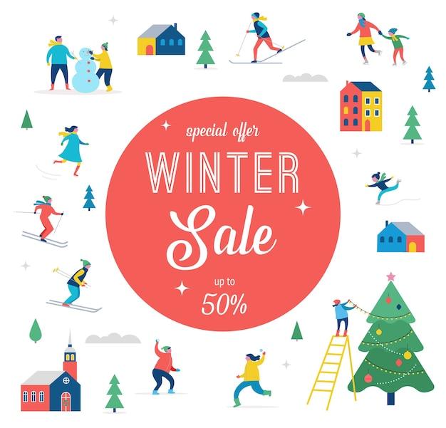 Banner di saldi invernali, design di promozione con persone, famiglia che fa sport invernali