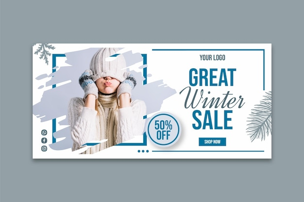 Modello di banner di vendita invernale