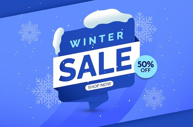 Modello vettoriale banner saldi invernali