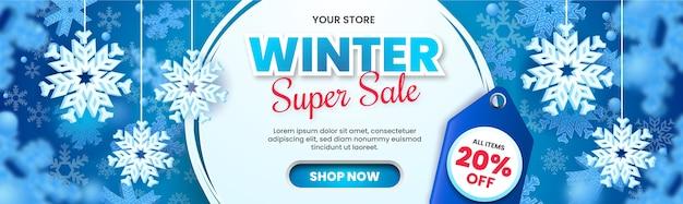 Banner di saldi invernali con fiocchi di neve e cartellino del prezzo