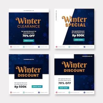 Collezione di post di instagram di vendita invernale
