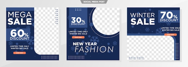 Modello di social media di vendita invernale