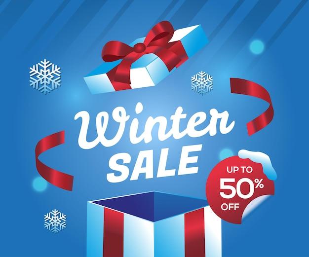 Offerta speciale di vendita invernale con sfondo scatola regalo