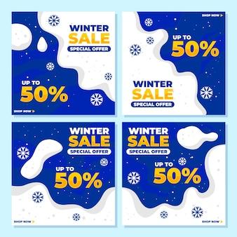 Saldi invernali con neve per raccolta post sui social media, sconto, offerta, offerta speciale