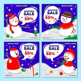 Saldi invernali con pupazzo di neve per raccolta post sui social media, sconto, offerta, offerta speciale