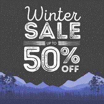 Parole di vendita invernale sul bellissimo piatto di natale vacanze invernali sullo sfondo del paesaggio con alberi, fiocchi di neve, neve che cade. illustrazione vettoriale