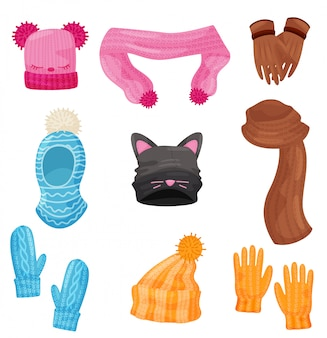 Sciarpe, cappelli, guanti e guanti invernali. icone dei cartoni animati.