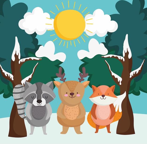 Scena invernale e animali