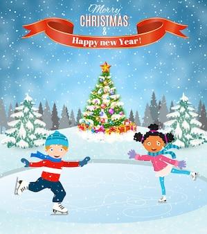 Scena invernale con bambini che pattinano