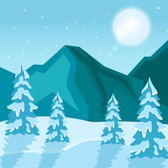 Illustrazione di disegno di sfondo del paesaggio invernale