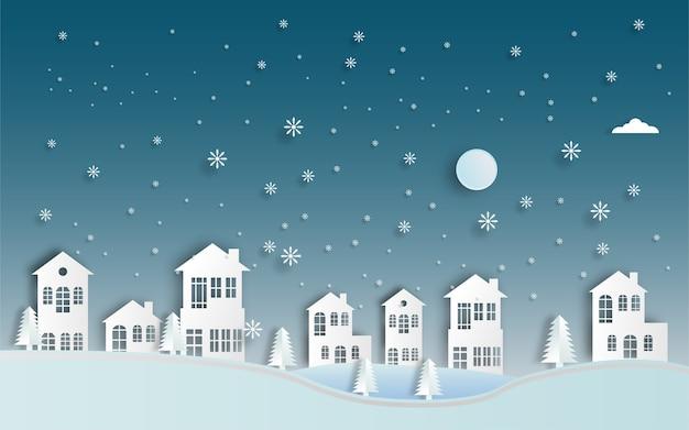 Taglio carta paesaggio invernale