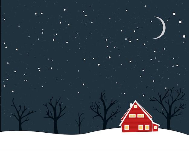 Paesaggio invernale con piccoli alberi nudi di casa rossa e luna. disegno della cartolina di natale.