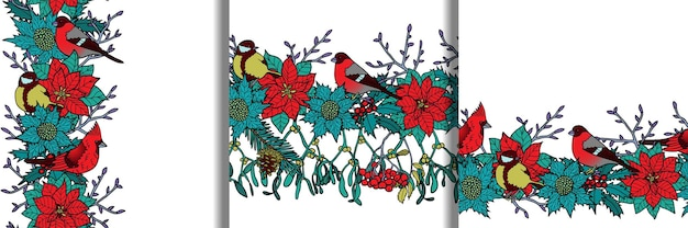 Set di bordi senza cuciture invernali per modelli e stampe tessili