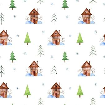 Modello senza cuciture invernale con alberi di natale, graziose case marroni, cumuli di neve e fiocchi di neve