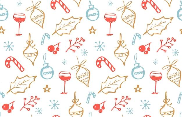 Modello invernale senza cuciture con illustrazioni scarabocchiate di decorazioni natalizie di vino agrifoglio e caramelle