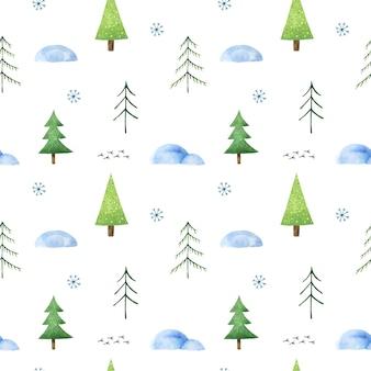 Seamless pattern invernale con alberi di natale stilizzati, cumuli di neve, fiocchi di neve e tracce di uccelli carini