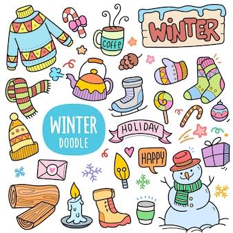 Elementi grafici vettoriali colorati per la stagione invernale e illustrazioni scarabocchiate