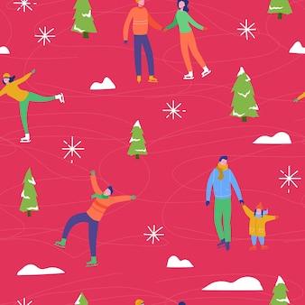 Illustrazione di stagione invernale sfondo con persone personaggi famiglia pattinaggio su ghiaccio. modello senza cuciture per le vacanze di natale e capodanno per design, carta da imballaggio, invito, biglietto di auguri, poster.