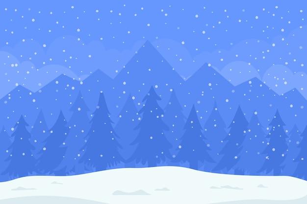 Stagione invernale. montagne e abeti nella neve. illustrazione di natale.