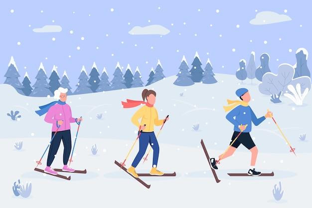Illustrazione semi piatta di sci invernale