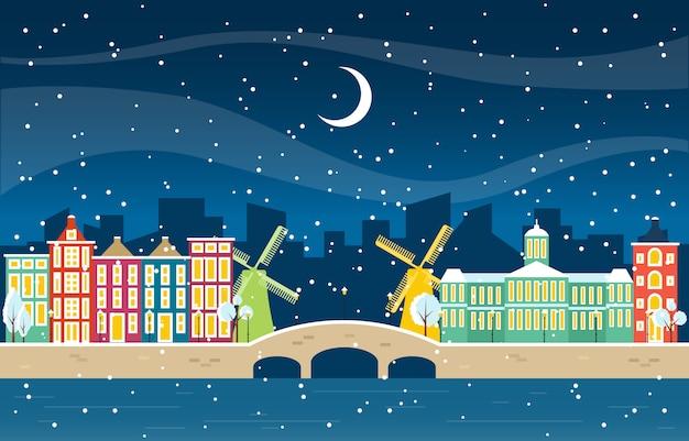 Neve di inverno nell'illustrazione della costruzione del punto di riferimento dell'orizzonte di paesaggio urbano della città di amsterdam