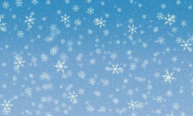 Sfondo di neve invernale. illustrazione vettoriale. cielo di nevicata. sfondo di natale. neve che cade.