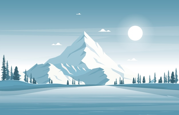 Inverno neve pino montagna calma natura paesaggio illustrazione