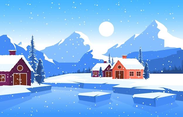 Illustrazione del paesaggio della natura del lago della casa della montagna del pino della neve di inverno