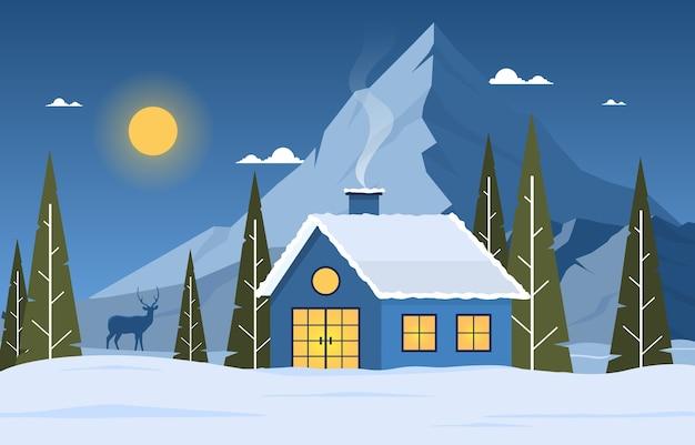 Illustrazione del paesaggio della natura di notte della casa della montagna del pino della neve di inverno