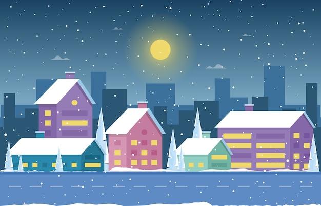 Illustrazione del paesaggio della casa della città della neve del pino della neve di inverno