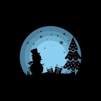 Progettazione del logo dell'illustrazione di vettore della siluetta della neve di inverno