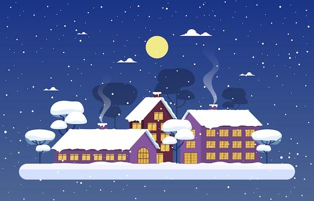 Illustrazione del paesaggio della casa della città della neve dell'albero della neve di inverno