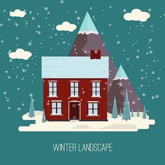 Villaggio urbano della città del paesaggio della campagna della neve di inverno