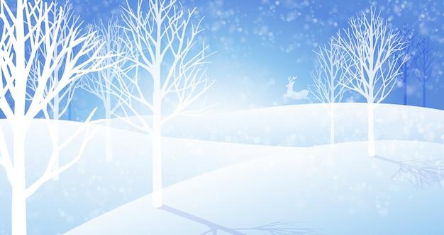 Inverno nevicata paesaggio sullo sfondo