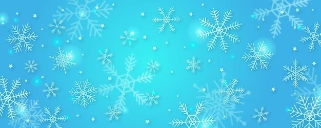 Fondo dell'insegna del fiocco di neve di inverno con la neve, la montagna, il paesaggio e la palma.