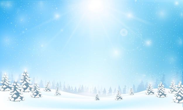 Fiocco di neve invernale cadere nel pavimento di neve e illuminazione
