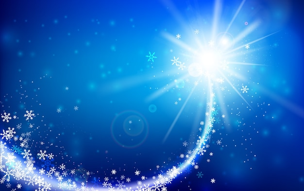 Fiocco di neve invernale che cade con scintillio e illuminazione Vettore Premium