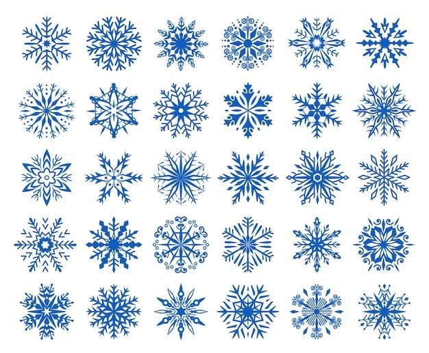 Fiocchi di neve invernali icone fiocchi di ghiaccio cristalli di neve ornamenti natale elementi vettoriali