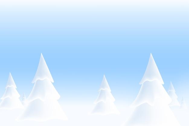 Paesaggio invernale innevato con alberi