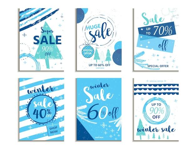 Banner e annunci di vendita di social media invernali, raccolta di modelli web. illustrazione vettoriale di natale per poster di siti web mobili, design di e-mail e newsletter, materiale promozionale
