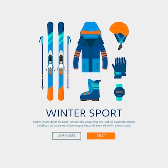 Collezione di icone di sport invernali. sci e snowboard set attrezzatura isolata su sfondo bianco in stile piatto. elementi per foto stazione sciistica, attività in montagna, illustrazione vettoriale.